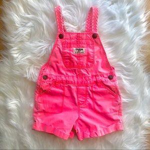 OSH KOSH B'GOSH neon peach coral overall shorts 2T